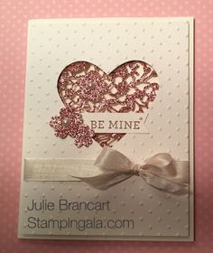 Stampin Up's Bloom' Heart Thinlits Dies and Bloomin' Love Stamp Set, Valentine Card by www.stampingala.com