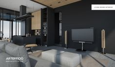 Nekton , living room interior. Concept design and rendered by Artéfficio