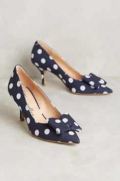 Bettye Muller Attache Pumps | Feminine kitten heels from vintage shoe connoisseur and eclectic designer, Bettye Muller | navy blue and white | Anthropologie