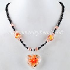 Gorgeous-Crystal-Lampwork-Glass-Beads-Pendant-Necklace-16-1-2-F977