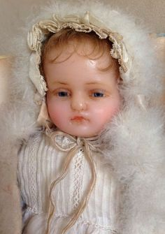 ANGELIC antique all original Pierotti portrait poured wax baby doll from angelsandforgetmenots on Ruby Lane