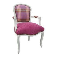 Pink Tartan Louis Chair