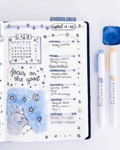 Weekly totoro inspired bullet journal spread by ig@goodoldbujo. Super cute!