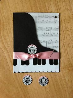 Handmade All Occasion Card Grand Piano in Pink Made w Mostly Stampin Up Produ | eBay
