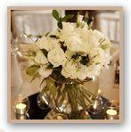 Fishbowl of lisianthus, gardenias, roses