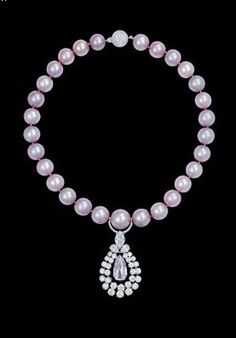 Graff's Pink Pearls & Pink Diamond Necklace.