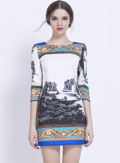 White Half Sleeve Vintage Print Bodycon Dress