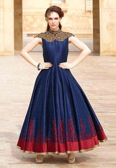 """Dessert is to a meal what a #dress is to a #woman."" Navy #Color Banglori Silk Designer #Gown"