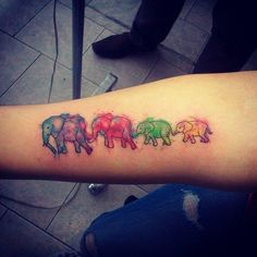 Similar to this but on my outer ankle Boy Tattoos, Family Tattoos, Sister Tattoos, Body Art Tattoos, Small Tattoos, Watercolor Elephant Tattoos, Colorful Elephant Tattoo, Pencil Drawing Pictures, Design My Tattoo