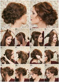 Comment faire un chignon chic - Coiffure bricolage - Art Design Wedding Hair And Makeup, Hair Makeup, Diy Wedding Hair, Diy Bridal Hair, Makeup Hairstyle, Medium Hair Styles, Curly Hair Styles, Fancy Hairstyles, Date Night Hairstyles