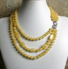 Chunky Yellow Necklace / Gemstone Statement Necklace by NSUJewelry, $80.00