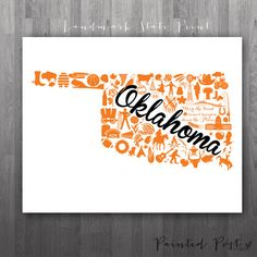 Stillwater Oklahoma Landmark State Giclée Print by PaintedPost, $15.00 #paintedpoststudio - Oklahoma State University Stillwater - Cowboys and Cowgirls- What a great and memorable gift for graduation, sorority, hostess, and best friend gifts! Also perfect for dorm decor! :)