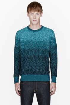 Paul Smith Jeans Turquoise Ombre Slub Sweatshirt for men | SSENSE