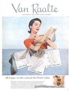 Vint ad for stockings from Van Raalte Vintage Stockings, Nylon Stockings, Vintage Advertisements, Vintage Ads, Candice Bergen, Hosiery, Disney Characters, Fictional Characters, Pin Up