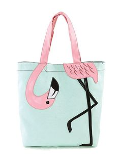 Think Pink! This super-cute pink Flamingo beach bag will spread tropical flair all year round. The pink canvas tote bag is made out of quality vinyl material and comes with a black strap. It measures