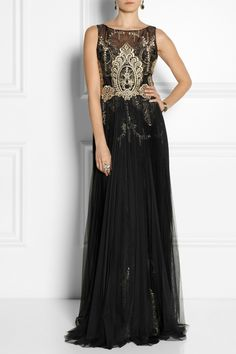 NOTTE BY MARCHESA Embroidered Organza Tulle Gown Black $895 FREE WORLD SHIPPING...AUTHENTIC DESIGNER BRANDS * BEST PRICES ANYWHERE! OVER 800 BEAUTIFUL ITEMS ON OUR WEBSITE!