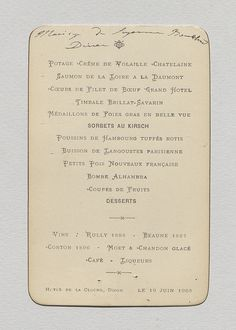 Antique French Menu Cafe Riche Toulouse  Mars   Ebay