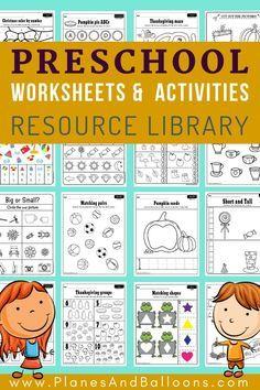 Free Preschool Worksheets PDF - Planes & Balloons