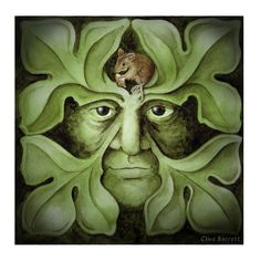 Green Man and the Gatekeeper - Green Man Greetings Cards by Clive Barrett