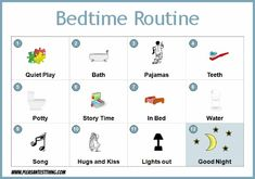Free printable bedtime routine chart for your toddler