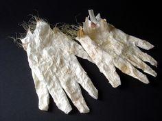 Second Skins I | 2009 | Garlic skin, cornsilk, adhesive | Tara Bursey