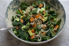 Kale Market Salad with Green Garlic Dressing