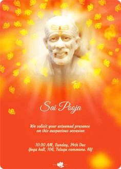 A special card to invite loved ones to a most auspicious Sai Pooja, bearing his peaceful countenance, being showered with a floral tribute. Indian Invitations, Custom Invitations, Invitation Cards, Wedding Invitations, Invites, First Love, Amazing Spider, Indian Weddings, Diwali