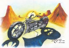 Motocicleta cromada, Lápis de cor A3