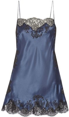 Carine Gilson midnight blue chemise for under darker blouses. I prefer a chemise to a camisole for work where I am so active. It does not come untucked. Belle Lingerie, Lingerie Xxl, Lingerie Chic, Lingerie Babydoll, Pretty Lingerie, Luxury Lingerie, Vintage Lingerie, Beautiful Lingerie, Lingerie Sleepwear