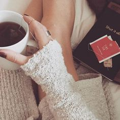 Cold weather = knit + warm tea + our rings. Photo by Heather.
