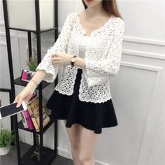 National Wind Cotton Thin Shawl Small Summer Hollow Crochet Flower Short Lace Jacket Sunscreen Clothing Size One Size Color Beige Flower Shorts, Lace Shorts, White Lace Blouse, Lace Jacket, Loose Tops, Crochet Lace, Crochet Flower, Sweaters For Women, Clothes