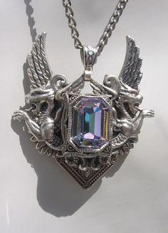 Swarovski Crystal and Dragon Wings of Flight Victorian Silver Necklace. $115.00, via Etsy.