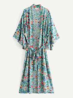 Botanical Print Self Tie Kimono