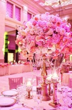 Pink Floral Ballroom Wedding Reception Centerpiece