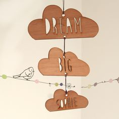 Personalised Dream Big Wooden Cloud Mobile - a gorgeous wooden laser cut hanging decoration