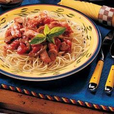 Chicken Spaghetti Supper Recipe -Instead of chicken breasts, try cut-up chicken or even browned turkey in her main dish. it's also interesting to try different types of pasta or to substitute rice for the spaghetti.—Carolene Esayenko, Calgary, Alberta