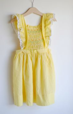 Vintage LIttle Girl Yellow Smocked Pinafore Dress.... I had one of these
