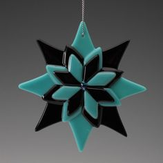 "Black and Teal with Dichroic Accents  Ornament 4"", fused glass, gift,"
