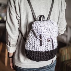 Casual rucksack made of recycled t-shirt yarn with tiny black hearts pattern. Ready to ship