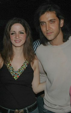 Sussanne and Hrithik Roshan at a birthday party in 2005. #Style #Bollywood #Fashion #Handsome