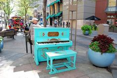 """""""Key to the City,"""" Denver Colorado a public piano art program created by the Downtown Denver Partnership for Denver's 16 Street Mall Hand-painted by local artists, each piano has a theme and are available for the public to play from 8 am to 10 pm, seven days a week during the spring and summer."""