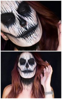 DIY Inspiration: Wooden Skull Makeup from Sandra Holmbom.Go to the link for products used and more photos.For the scariest Halloween MakeupEVERby Sandra Hombom go here (82,000 notes).For more of Sandra Holmbom's amazing FX makeup go here:halloweencrafts.tumblr.com/tagged/psychosandra