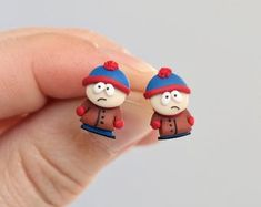 Your place to buy and sell all things handmade Polymer Clay Crafts, Diy Clay, Polymer Clay Earrings, South Park, Clay Charms, Clay Projects, Best Gifts, Creations, Handmade Jewelry