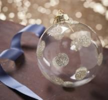 Gold Spotty Clear Glass Bauble