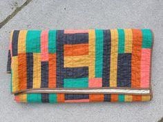 Hattie Butner throw quilt  | improv modern quilt yellow orange navy blue teal pink striped handmade homemade cotton throw quilt