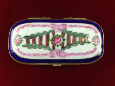 Antique Royal Danube  1886 Hand Painted Porcelain Floral Hinged JewelryTrinket Box MV246|We combine shipping|No Question Refunds|Bid over $60 for free shipping. Starting at $1