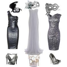 Silver masquerade by maxandme on Polyvore featuring polyvore, moda, style, Alexander McQueen, Donna Karan, L.K.Bennett, H&M, Masquerade, GUESS and ALDO