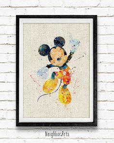 #artprint #poster #homedecor #roomdecor #wallart #watercolor #watercolorprint #gift #kids #mickeymouse #disney #mickey disneyland