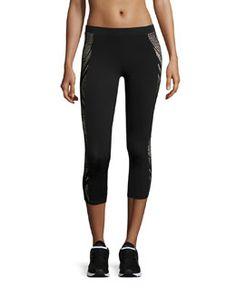 Blocked Crop Tight Leggings by ALALA. Alala athletic leggings/compression tights in solid performance jersey with glossy panels. Knit Leggings, Tight Leggings, Capri Leggings, Capri Pants, Black Tights, Black Leggings, High Waisted Sports Leggings, Running Tights, Rebecca Minkoff