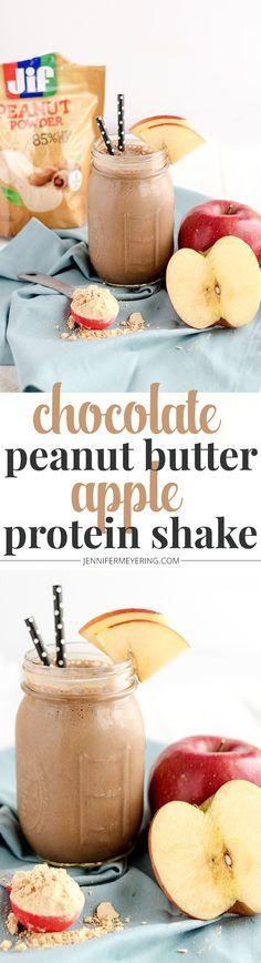 Chocolate Peanut Butter Apple Protein Shake - JenniferMeyering.com